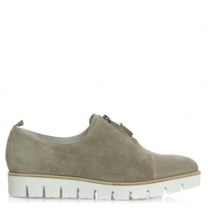Orma Beige Suede Tracked Sole Pointed Toe Shoe