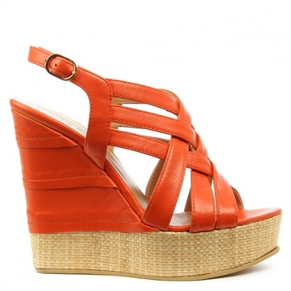 Oryx Orange Leather Criss Cross Raffia Wedge Sandal
