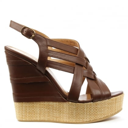 Oryx Tan Leather Criss Cross Raffia Wedge Sandal