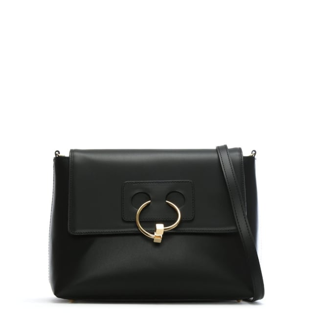 Oval Black Leather Cross-Body Bag
