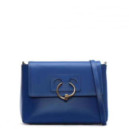 Oval Blue Leather Cross-Body Bag