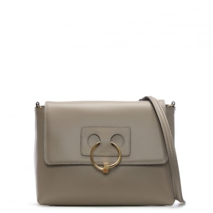 Oval Taupe Leather Cross-Body Bag