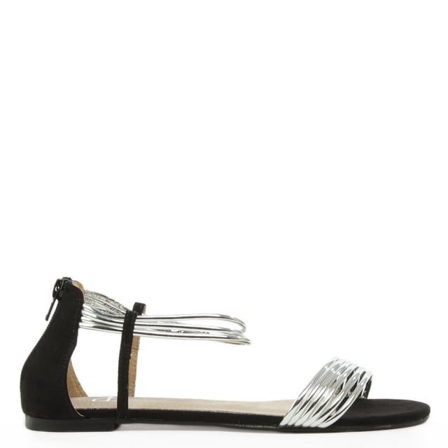 Overpool Silver Metallic Strappy Flat Sandal