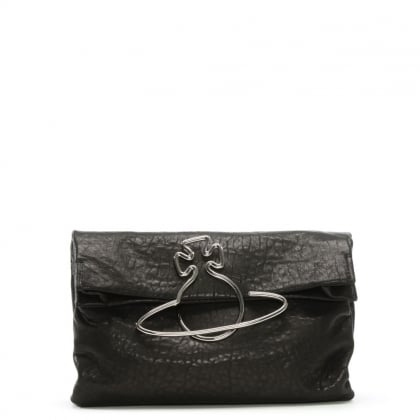 Oxford Black Leather Clutch Bag