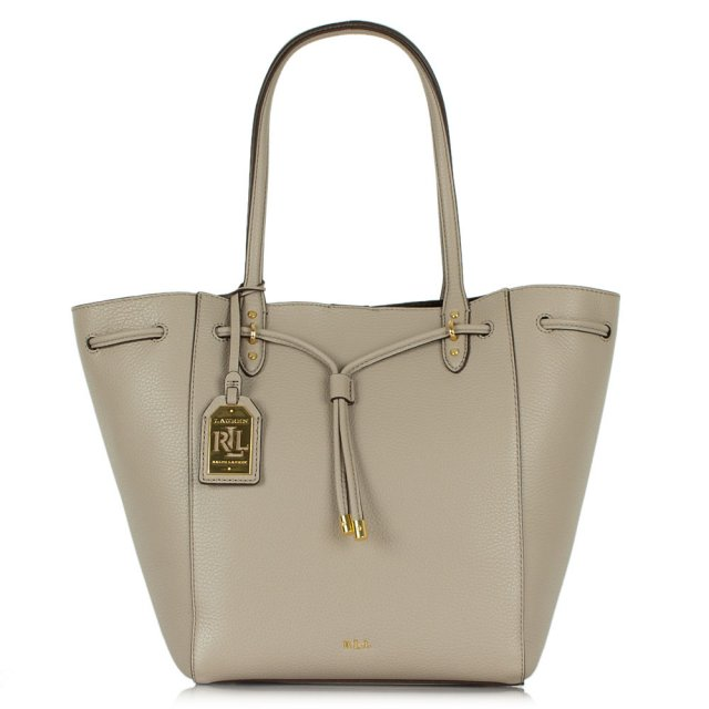 c244081e9c941 Lauren By Ralph Lauren Oxford Tote Taupe Leather Tote Bag