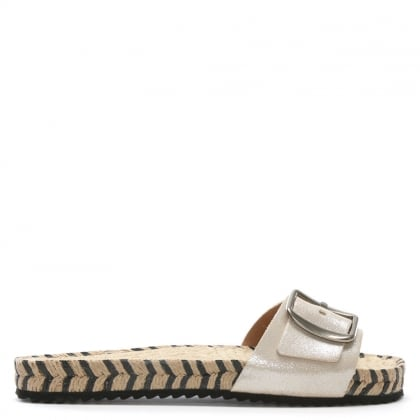 Palazzi Beige Metallic Leather Espadrille Mules