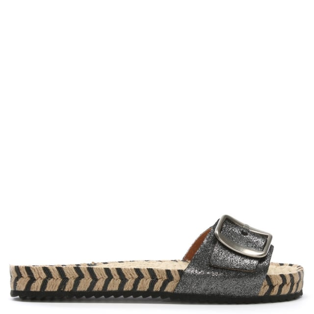 Palazzi Black Metallic Leather Espadrille Mules