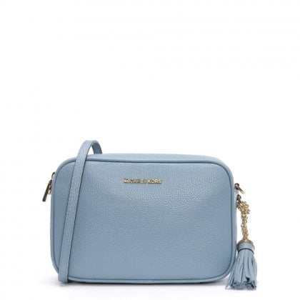 Pale Blue Pebbled Leather Camera Bag