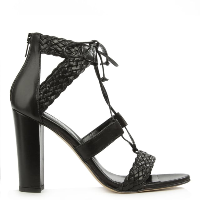 Palm Springs Black Leather Woven Sandal