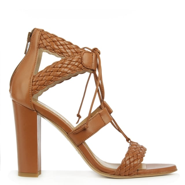 Palm Springs Tan Leather Woven Sandal