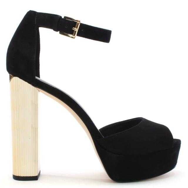 Michael Kors Paloma Black Suede Platform Sandals