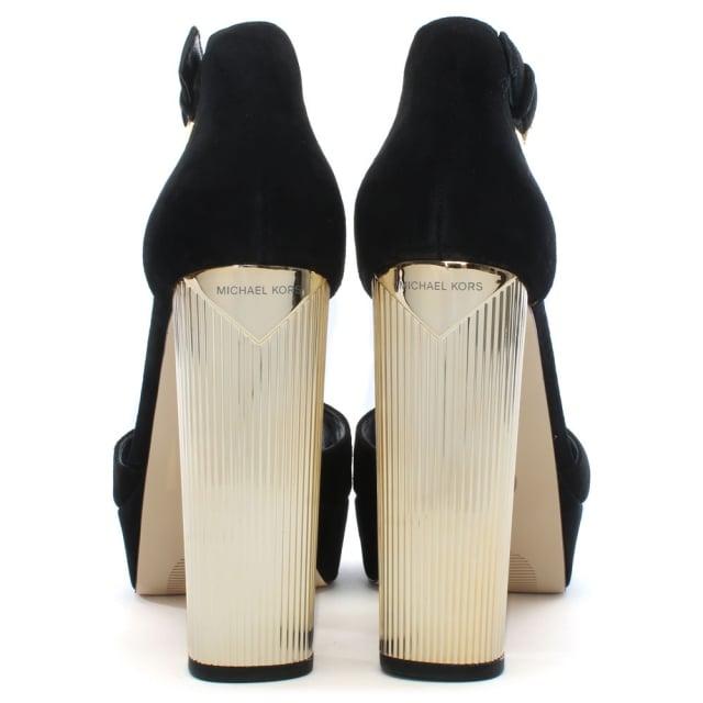 7226bbd2fc19 Michael Kors Paloma Black Suede Platform Sandals