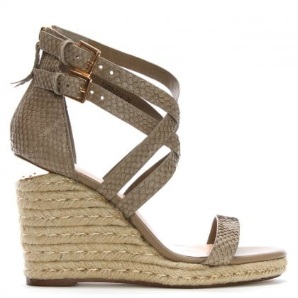 Palomo Beige Reptile Leather Lattice Wedge Sandals