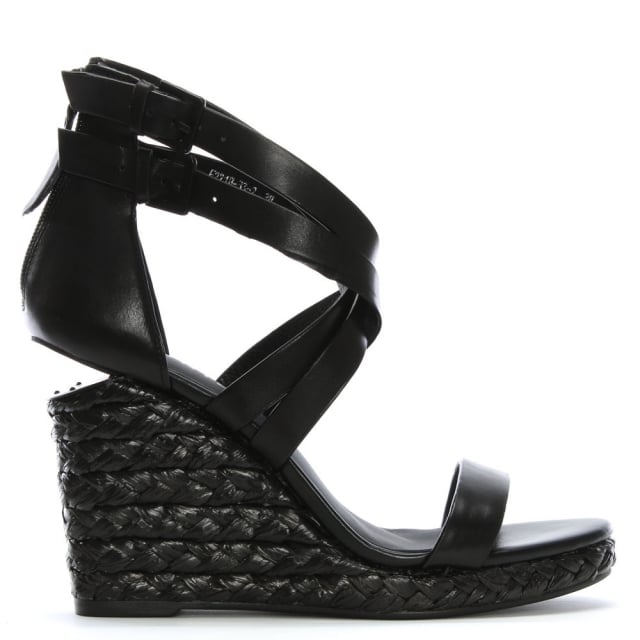 11868cc02bd Palomo Black Leather Lattice Wedge Sandals
