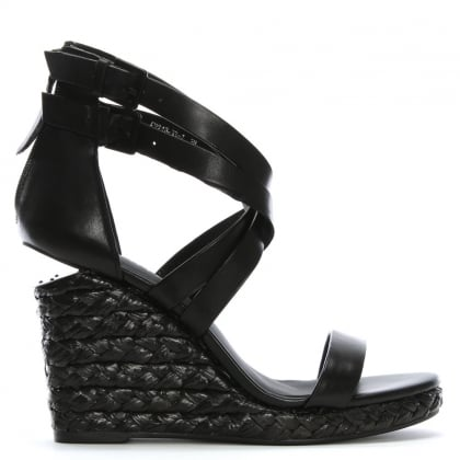 Palomo Black Leather Lattice Wedge Sandals