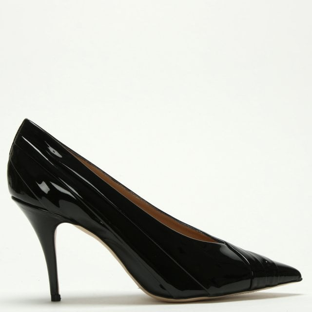 e4a4878b4e Daniel Pamela Black Patent Leather Court Shoes