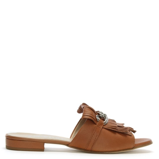 Pamela Tan Leather Fringed Mules