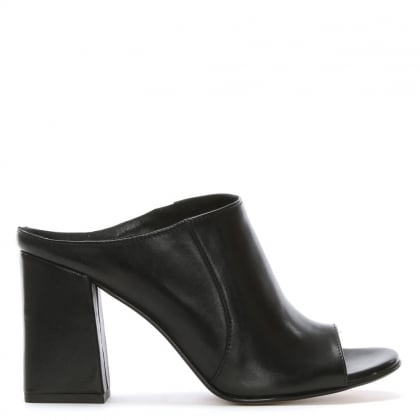 Pammy Black Leather Block Heel Mule