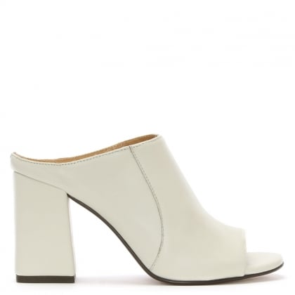 Pammy White Leather Block Heel Mule