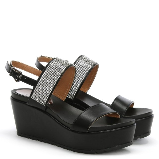94e11f68547325 Moda In Pelle Panelo Black Jewelled Wedge Sandals