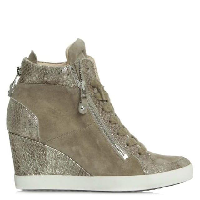 Panels Taupe Suede Wedge High Top Trainer