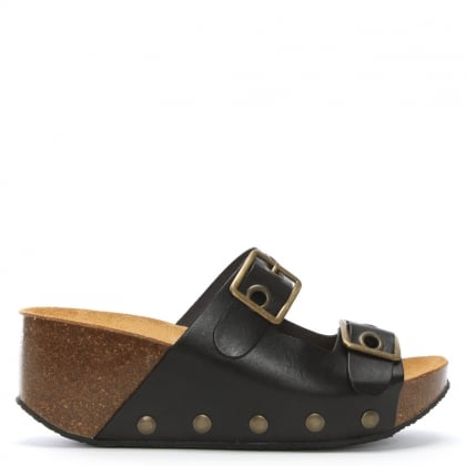 Pantar Black Leather Studded Mules