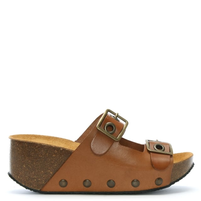 Pantar Brown Leather Studded Mules