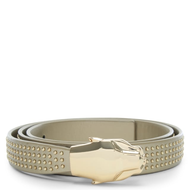 Cavalli Class Panther Head Gold Leather Studded Belt