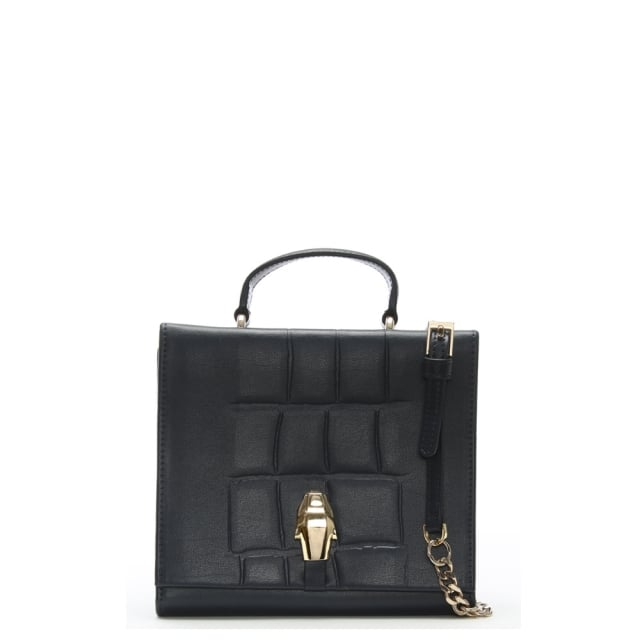 Cavalli Class Panther Head Navy Leather Mini Cross-Body Bag