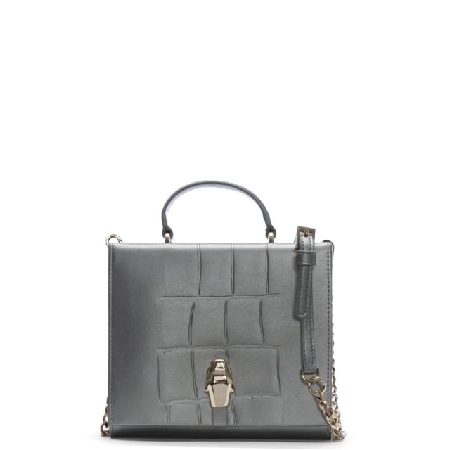 Cavalli Class Panther Head Silver Leather Mini Cross-Body Bag