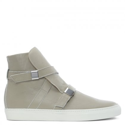 Parallax Grey Leather Buckle High Top Trainers