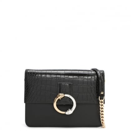 Paris Black Embossed Croc Leather Shoulder Bag