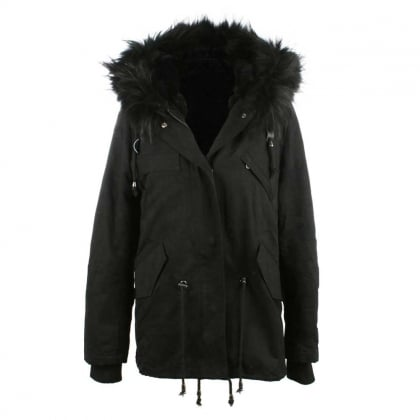 Paris Black Fur Trim Parka
