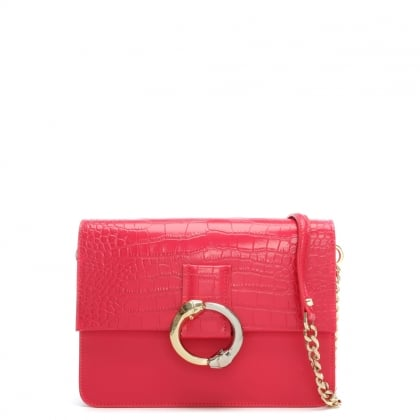 Paris Fuchsia Embossed Croc Leather Shoulder Bag