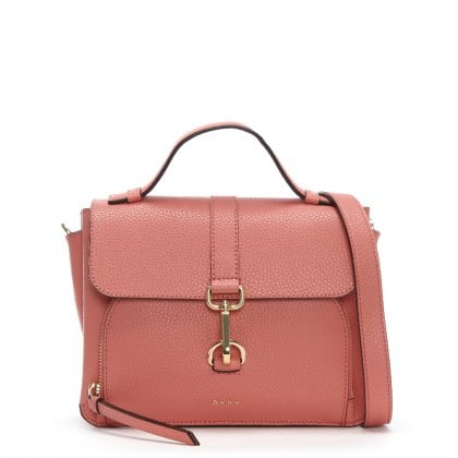 Paris Pebbled Coral Leather Cross-Body Bag