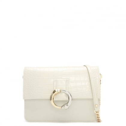 Paris White Embossed Croc Leather Shoulder Bag