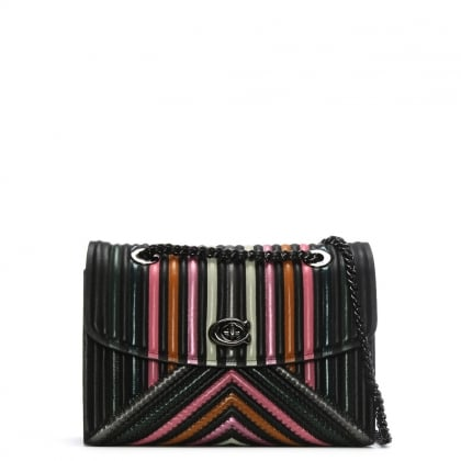 Parker Black Colour Block Quilted Cross-Body Bag