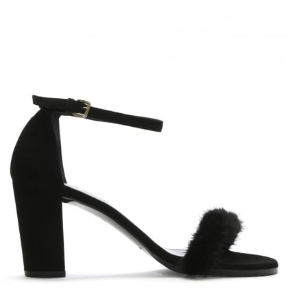 Parore Black Suede Fur Strap Sandals