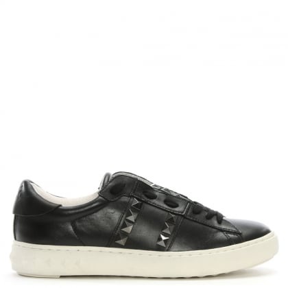 Party Black Leather Gunmetal Studded Trainer