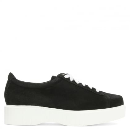 Pasketm Black Suede Flatform Lace Up Shoe