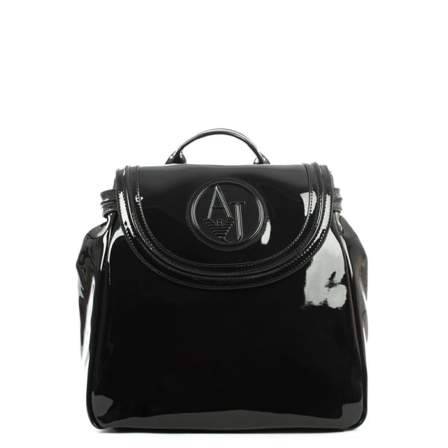 Armani Jeans Patent Black Eco Leather Backpack a1252173fe854
