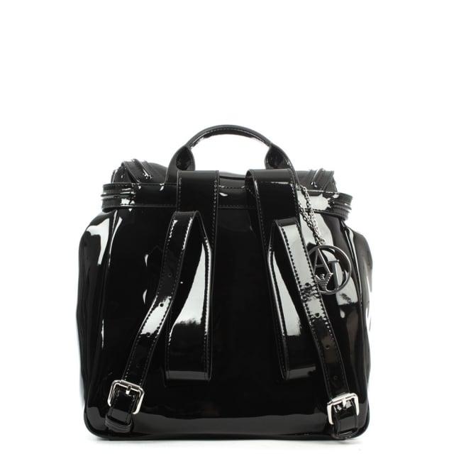 91040f53af9 Armani Jeans Patent Black Eco Leather Backpack