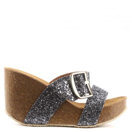 Patrinia Black Glitter Metallic Two Bar Wedge Sandal