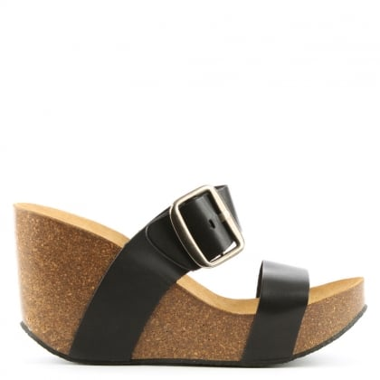 Patrinia Black Leather Two Bar Wedge Sandal
