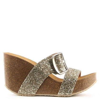 Patrinia Gold Glitter Metallic Two Bar Wedge Sandal