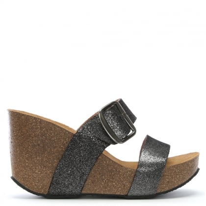 Patrinia Pewter Metallic Leather Two Bar Wedge Sandals