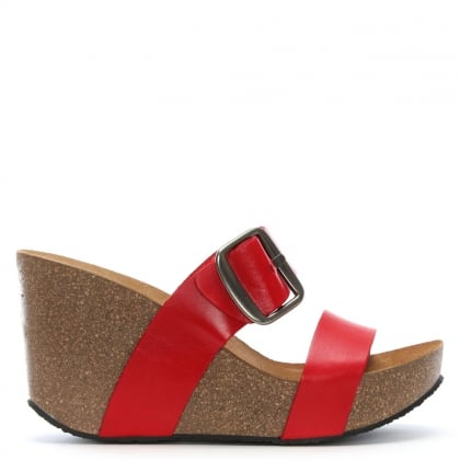 Patrinia Red Leather Two Bar Wedge Sandals