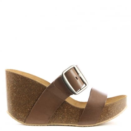 Patrinia Taupe Leather Two Bar Wedge Sandal