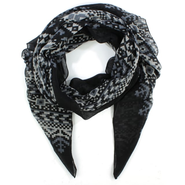 Patterned Black Light Weight Scarf