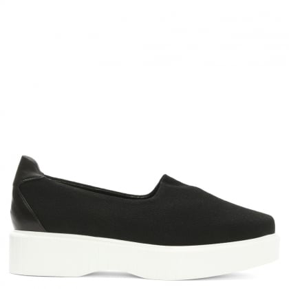 Pauli Black Stretch Jersey Slip On Flatform